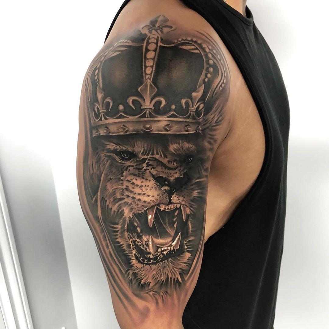 Black & Grey Lion Tattoo Toronto