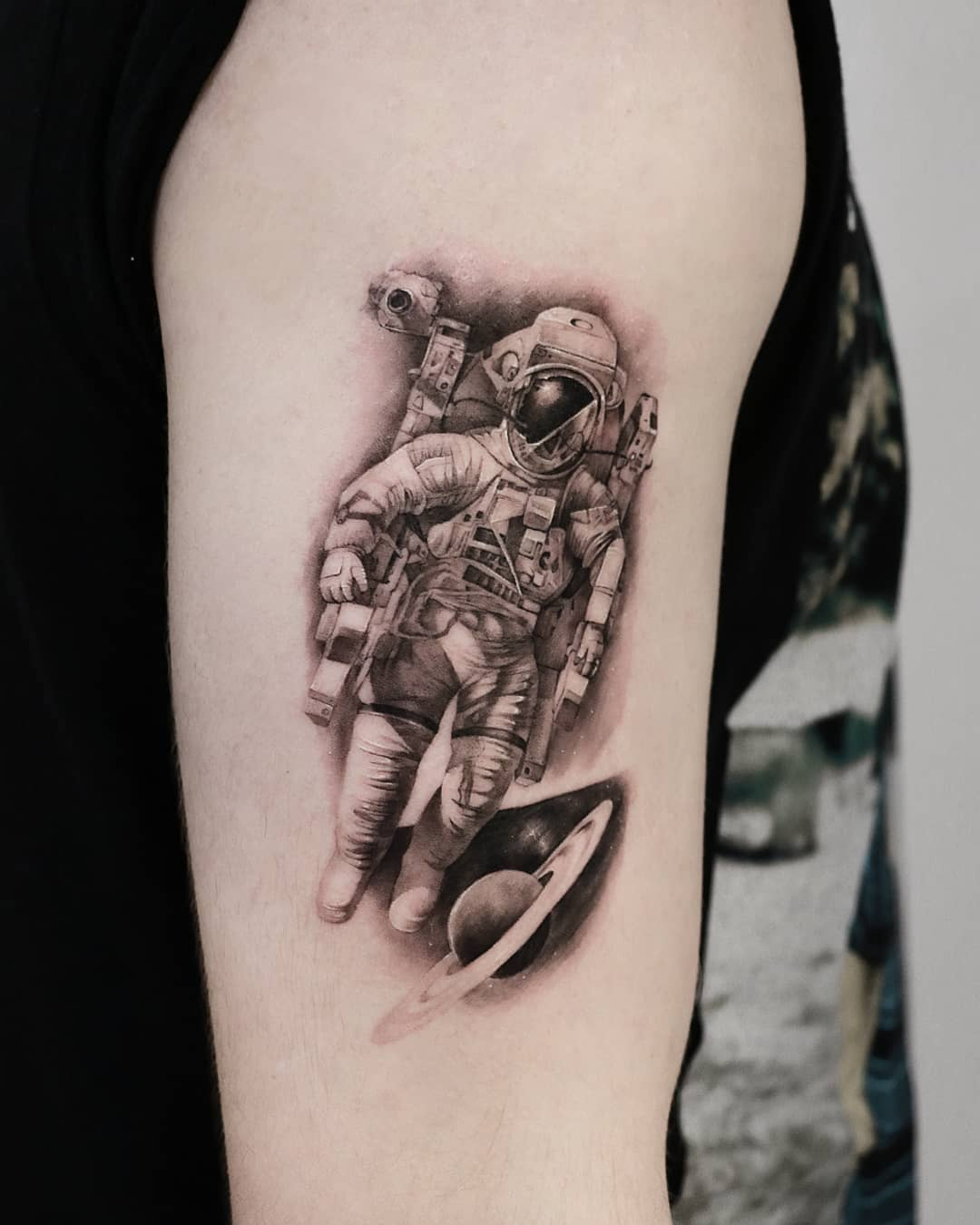 Black and Grey Astronaut Tattoo Toronto
