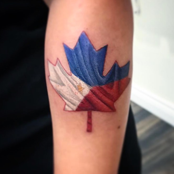 Colourful Maple Leaf Tattoo